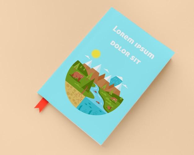 Maquete de livro azul plana leigos
