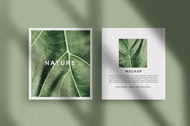 Maquete de livro com vista frontal e traseira da natureza
