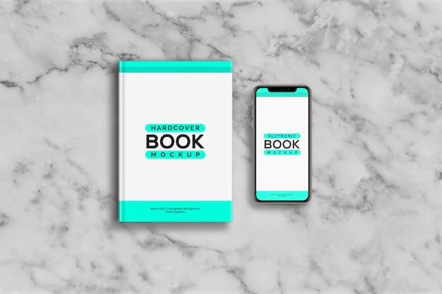 Maquete de livro de capa dura e smartphone