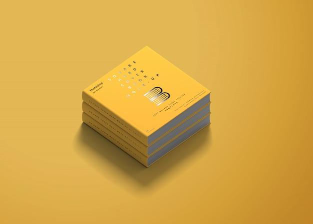 Maquete de livro de capa dura quadrada