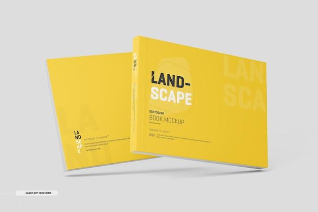Maquete de livro de capa mole com paisagem