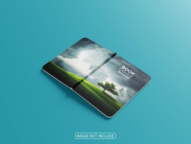 Maquete de livro de capa mole de vista lateral frente e verso