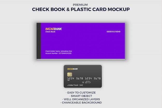 Maquete de livro de cheques e cartão de crédito