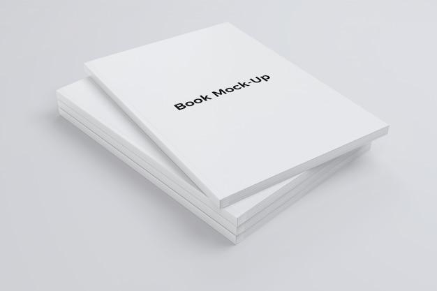 Maquete de livro empilhado em cinza