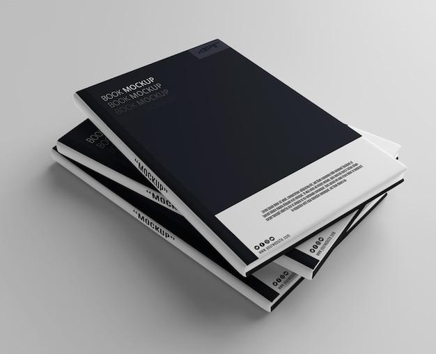Maquete de livro empilhado
