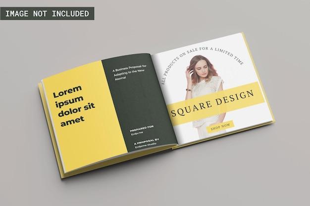 Maquete de livro quadrada com ângulo esquerdo vie