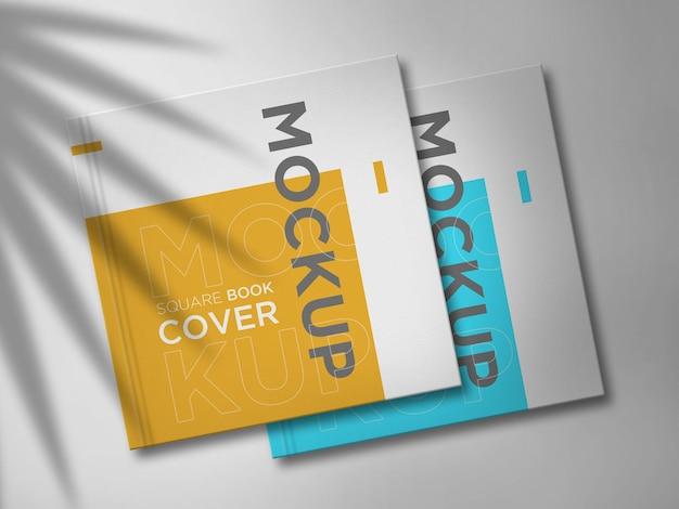 Maquete de livro quadrada dupla com sombra elegante