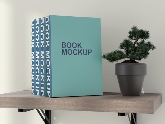 Maquete de livros na prateleira Psd Premium