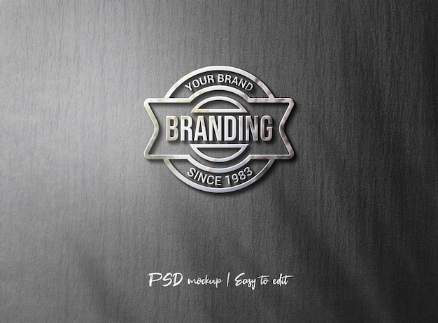 Maquete de logotipo 3d de luxo na parede cinza