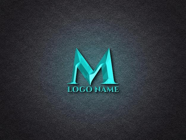 Maquete de logotipo 3d de néon metálico
