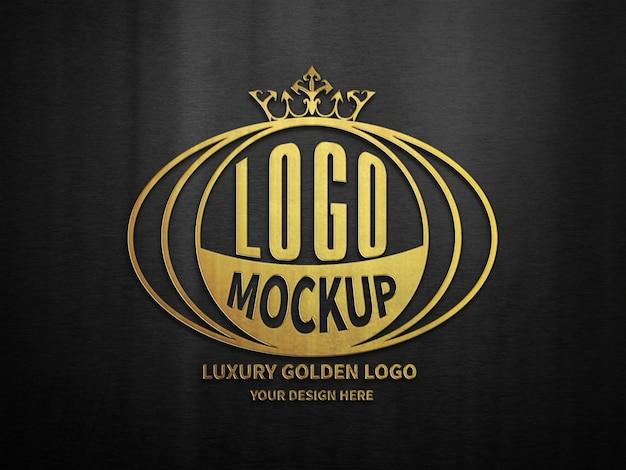 Maquete de logotipo 3d dourado de luxo preto