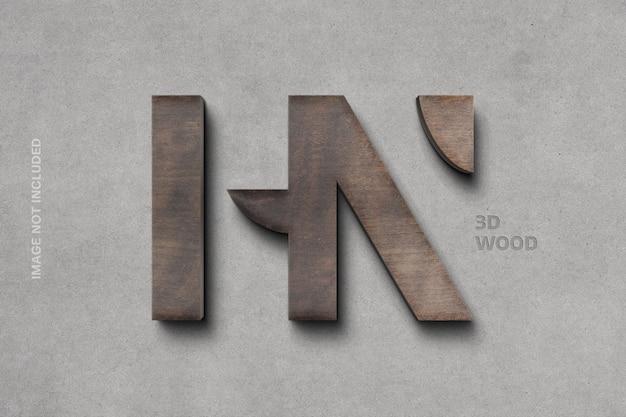 Maquete de logotipo 3d em madeira
