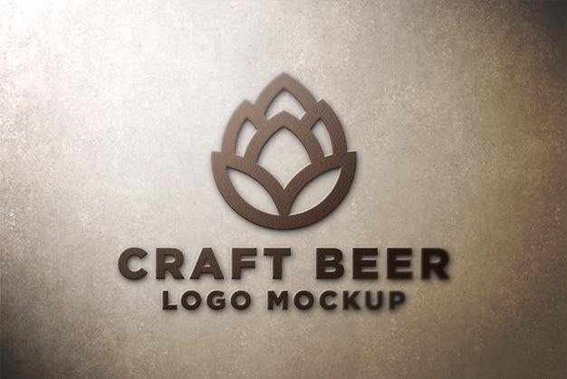 Maquete de logotipo 3d frontal na parede de concreto