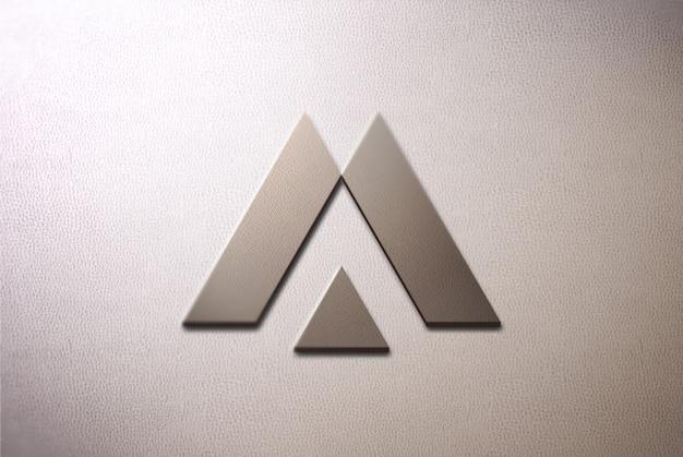 Maquete de logotipo 3d frontal na parede