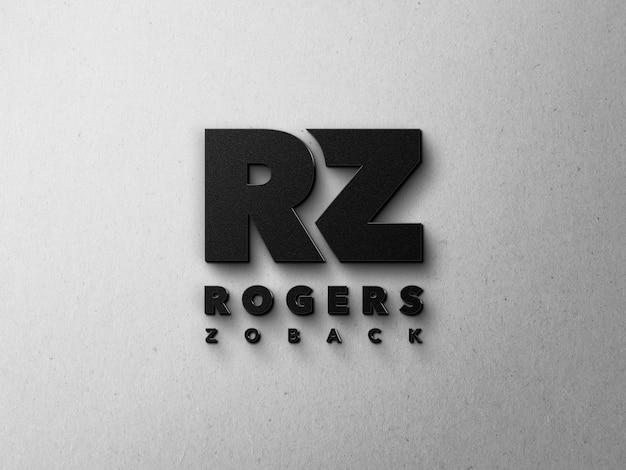 Maquete de logotipo 3d metálico preto