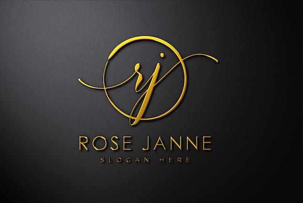 Maquete de logotipo 3d ouro luxo