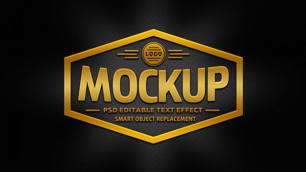 Maquete de logotipo 3d ouro