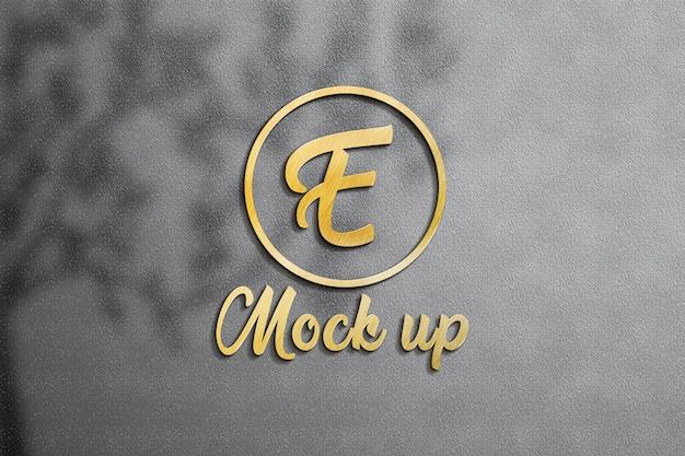 Maquete de logotipo 3d parede ouro