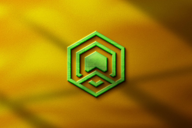 Maquete de logotipo 3d realista de negócios