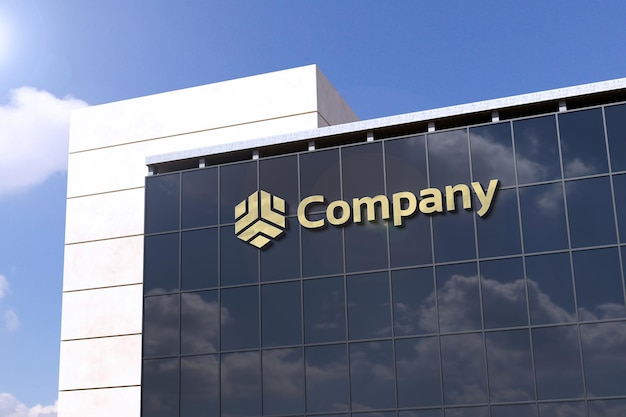 Maquete de logotipo 3d realista em vidro de edifício moderno