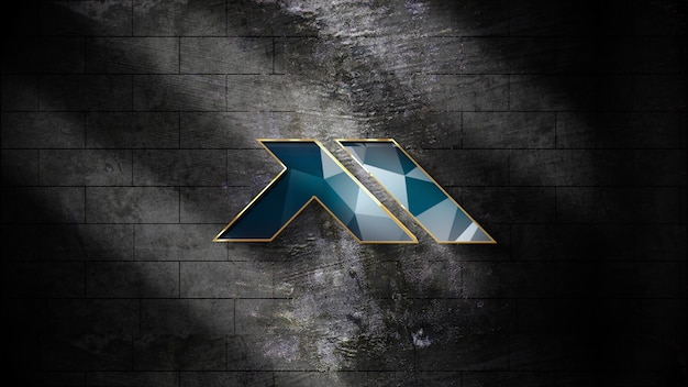 Maquete de logotipo 3d realista na parede