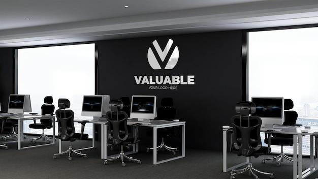 Maquete de logotipo 3d realista na sala de negócios do espaço de trabalho do escritório