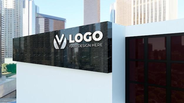 Maquete de logotipo 3d realista no prédio branco da empresa