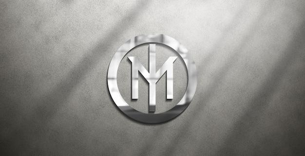 Maquete de logotipo brilhante editável na parede grossa