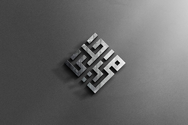 Maquete de logotipo de aço 3d realista com fundo cinza textura
