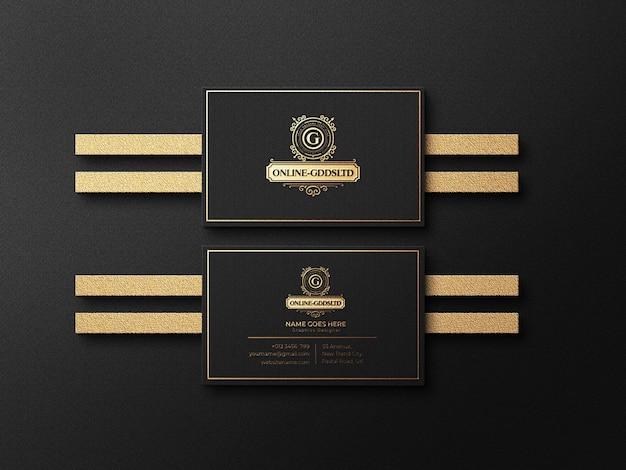Maquete de logotipo de cartão de visita de luxo com efeito de relevo e relevo