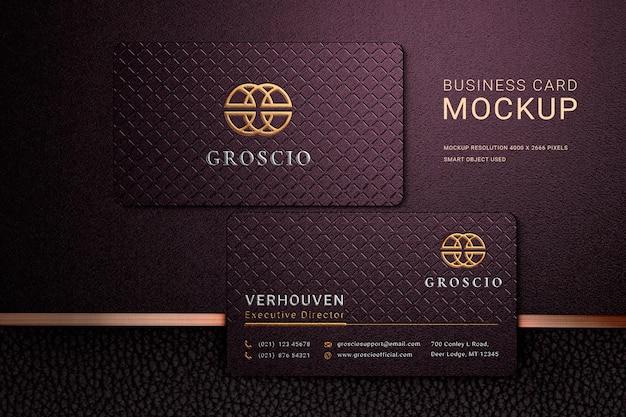 Maquete de logotipo de cartão de visita de luxo com efeitos em relevo