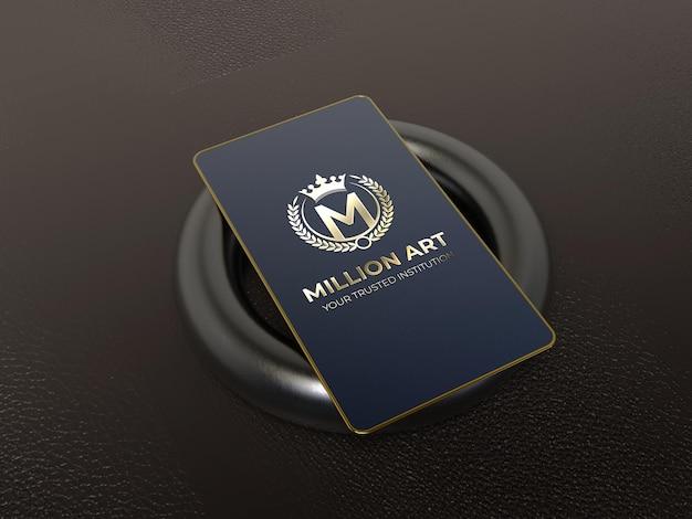Maquete de logotipo de cartão de visita de metal dourado luxuoso