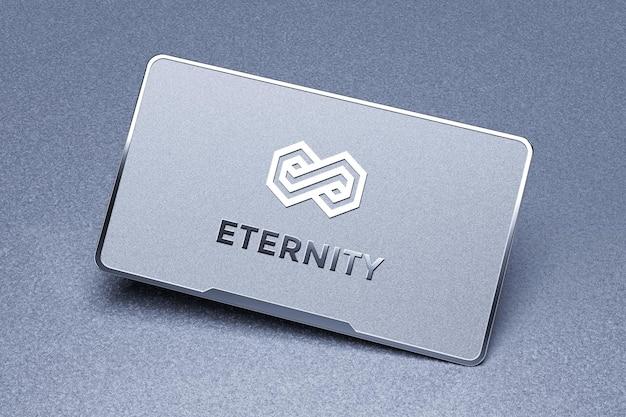 Maquete de logotipo de cartão de visita de metal flutuante