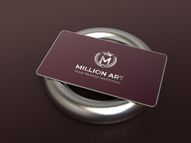 Maquete de logotipo de cartão de visita de metal luxuoso