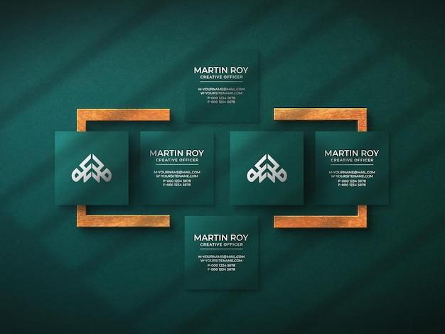 Maquete de logotipo de cartão de visita quadrada de luxo com efeito de impressão tipográfica
