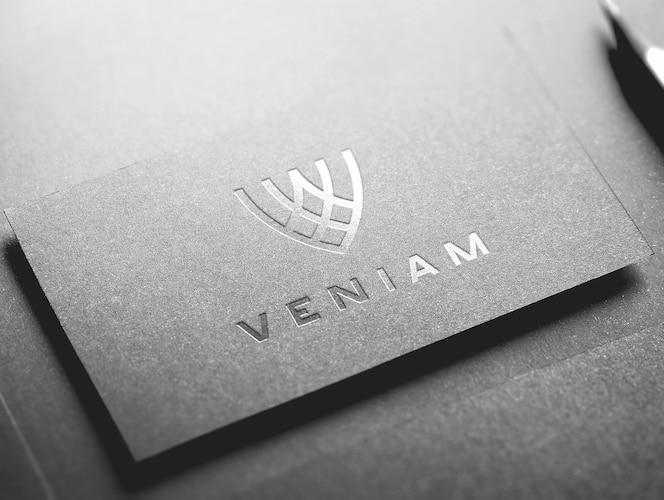 Maquete de logotipo de cartão prata