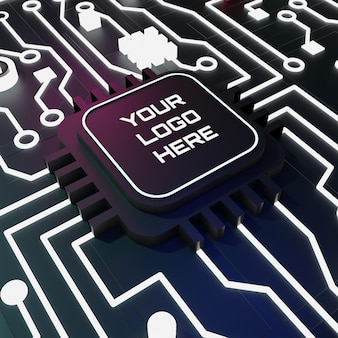Maquete de logotipo de circuitos 3d com luz de néon e conceito escuro