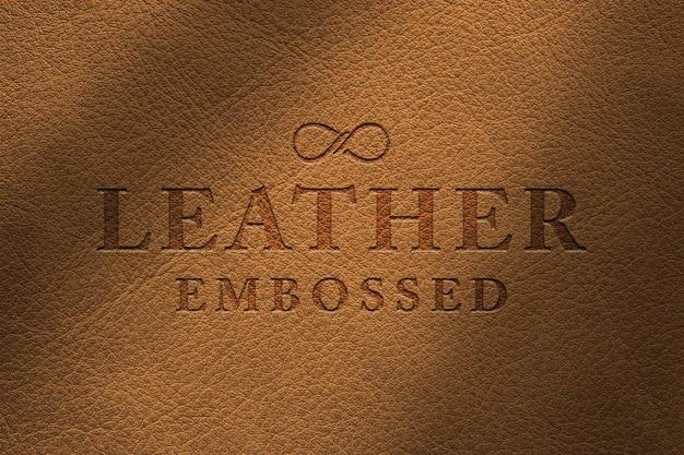 Maquete de logotipo de couro em relevo