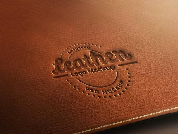 Maquete de logotipo de couro