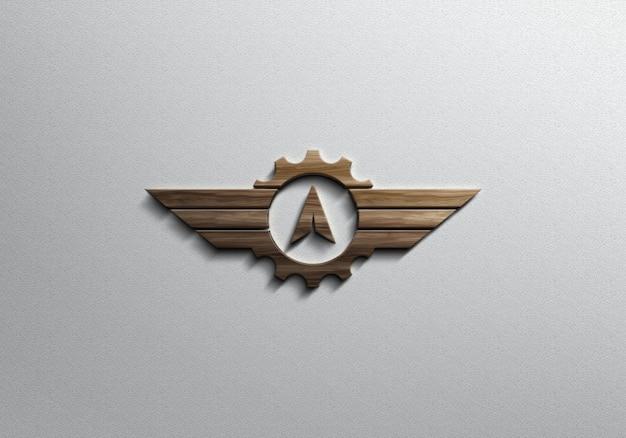 Maquete de logotipo de efeito madeira 3d