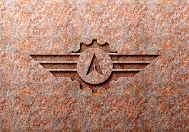 Maquete de logotipo de efeitos gravados ferrugem