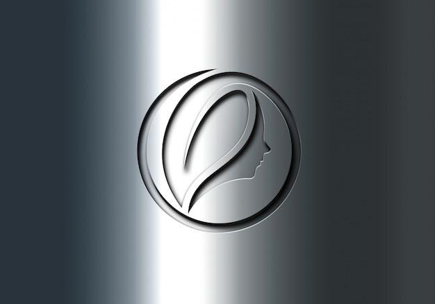 Maquete de logotipo de efeitos gravados inoxidável