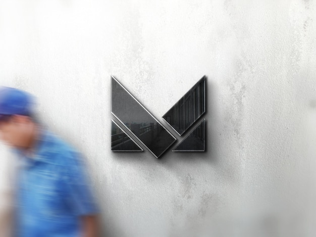 Maquete de logotipo de empresa de parede de rua realista