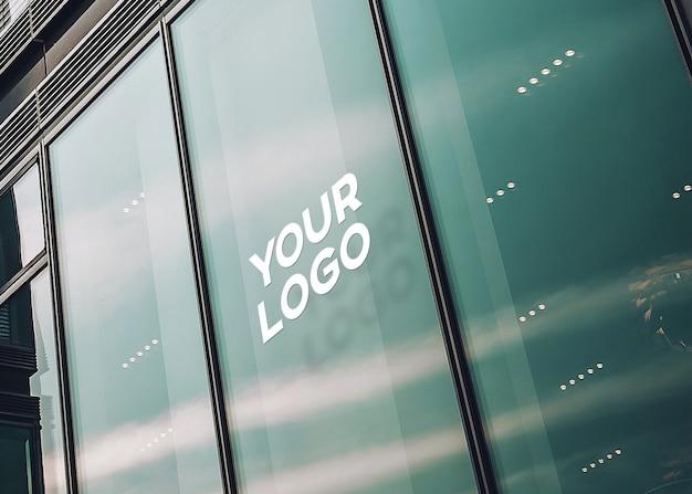 Maquete de logotipo de escritório de vidro