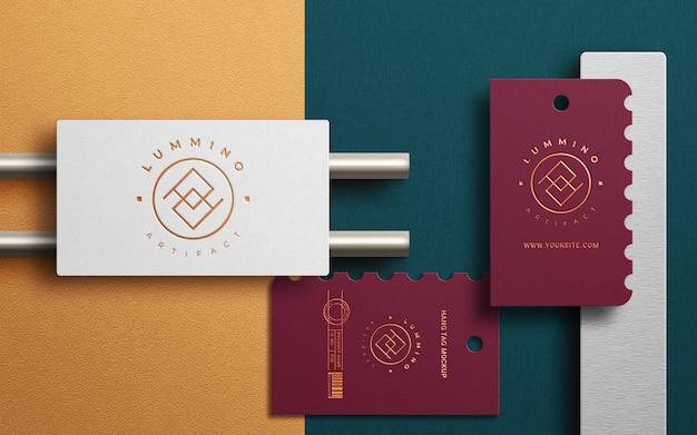 Maquete de logotipo de etiqueta e cartão de visita moderno