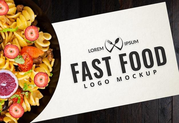 Maquete de logotipo de fast-food