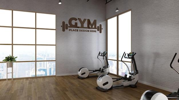 Maquete de logotipo de fitness em sala de ginástica de renderização realista