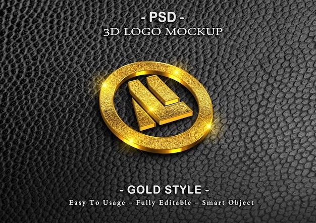 Maquete de logotipo de luxo 3d em ouro