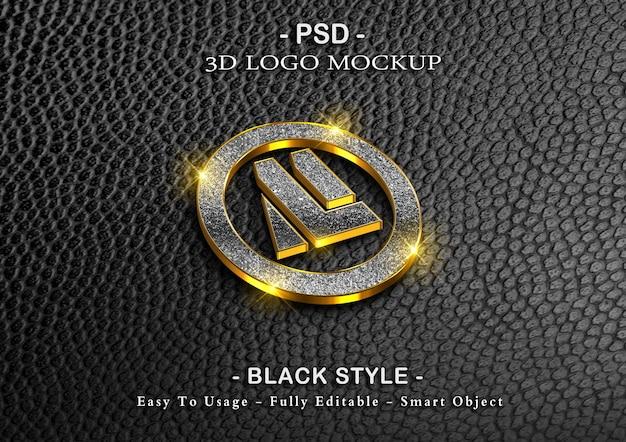 Maquete de logotipo de luxo 3d em preto