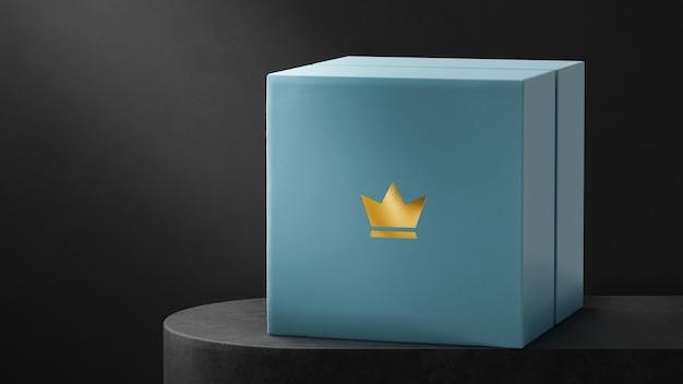 Maquete de logotipo de luxo azul joalheria caixa de relógio